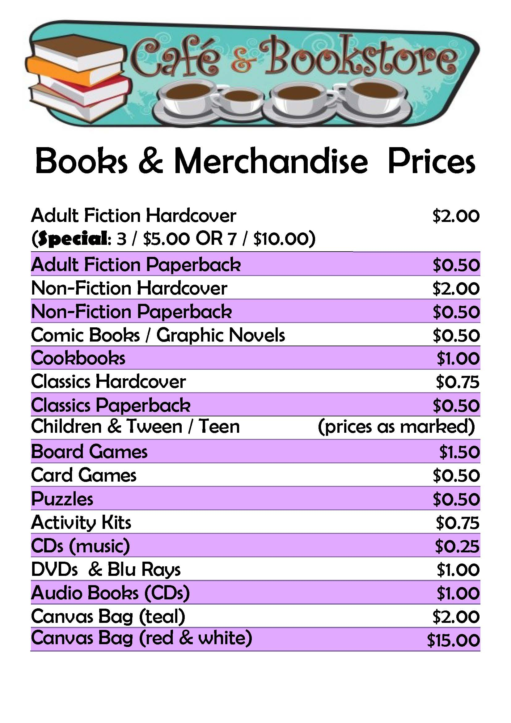 Prices for books in the Bookstore