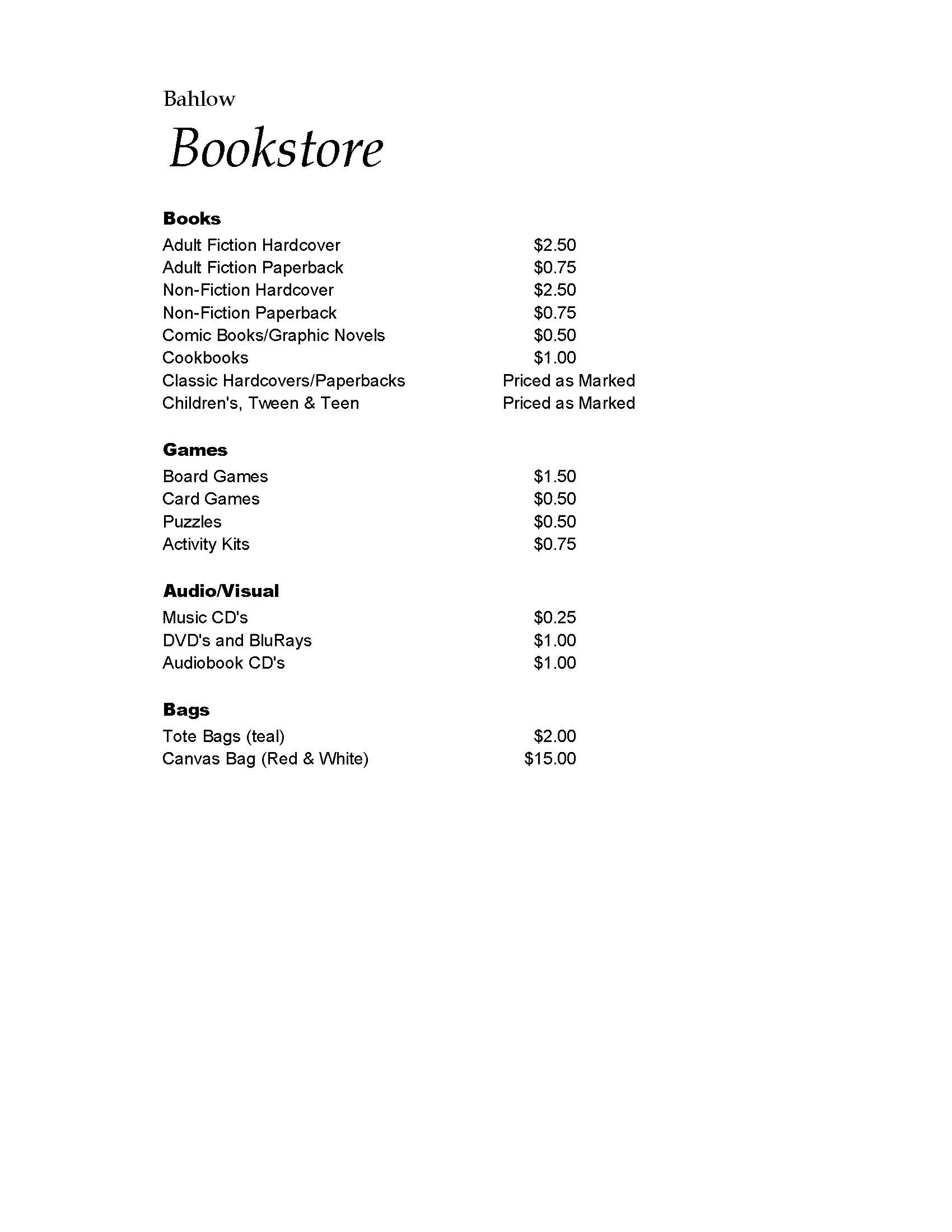 Bookstore prices