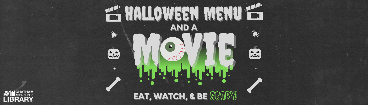 Black, gray, and green design with an eyeball for the 'o' in movie, dripping green design below the word 'movie' and halloween-themed icons on the right and left sides