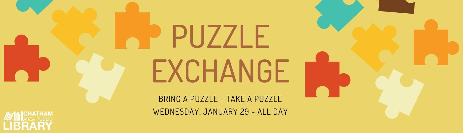 Colorful puzzle pieces and words describing the January 29 puzzle exchange