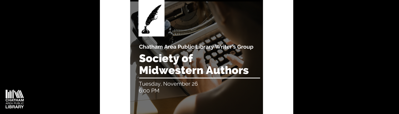 An advertisement for the November 26 Society of Midwestern Writer's Group meeting at 6:00 PM